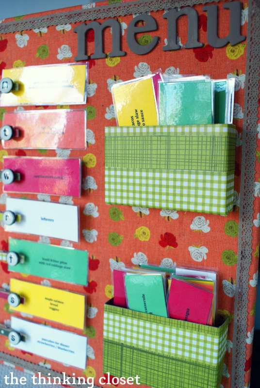 menu planner for the week or month, Thinking Closet