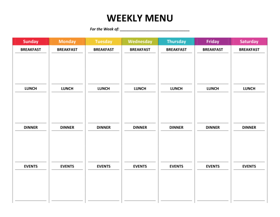 menu planning for a week, plus other household organizing printables Gone Like Rainbows
