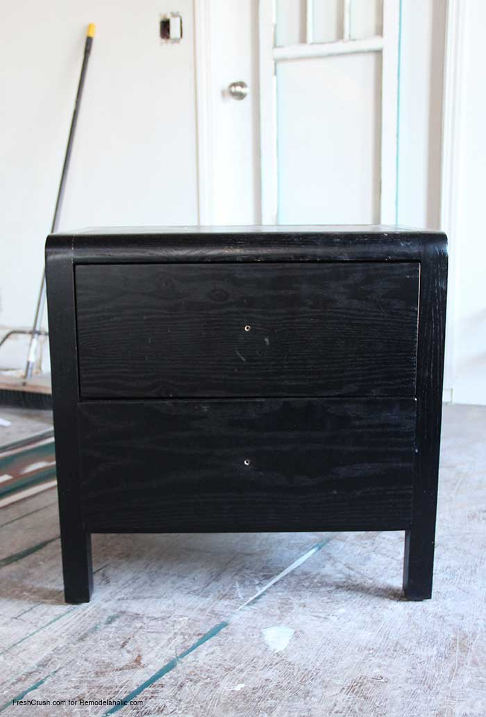 WOW! She turned this basic boring black nightstand into a beautiful rustic piece!
