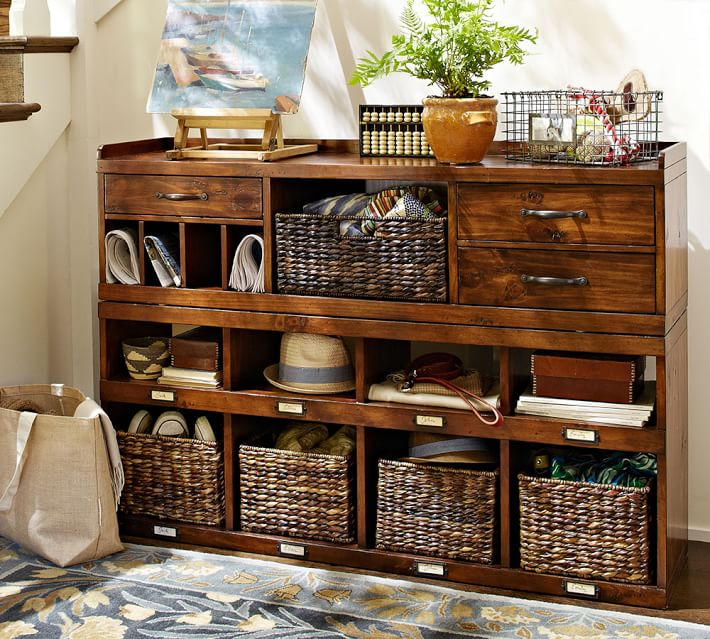 This entryway organizer is perfect! Rustic and beautiful, with just the right amount of storage | 100+ Beautiful Mudrooms and Entryways at Remodelaholic.com