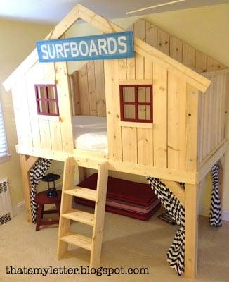 surf shack clubhouse loft bed diy kids