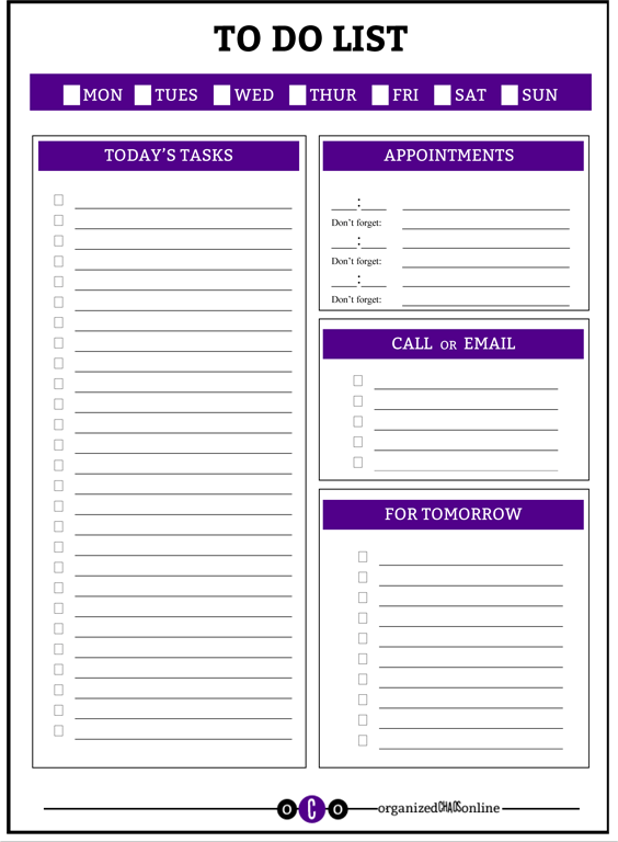 to do list and weekly organizer, Organized Chaos