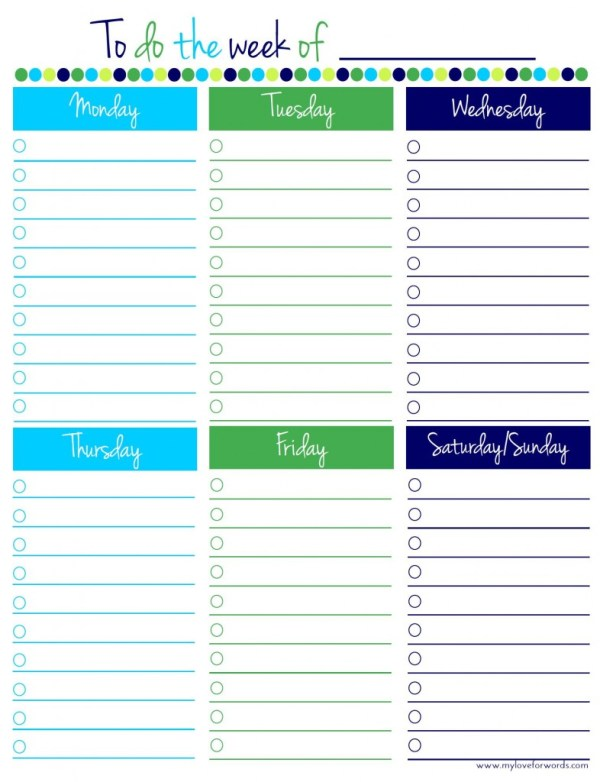 to do list weekly printable, My Love For Words