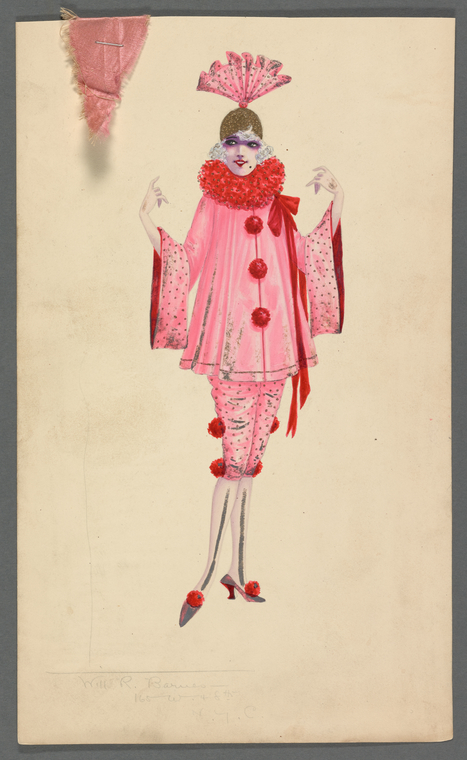 vintage red women's costume art NYPL