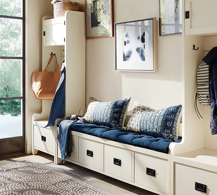 This entryway bench and locker set is gorgeous! | 100+ Beautiful Mudrooms and Entryways at Remodelaholic.com