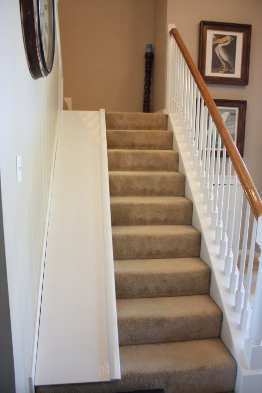 Remodelaholic diy stair slide or how to add a slide to - Easy to move couch ...
