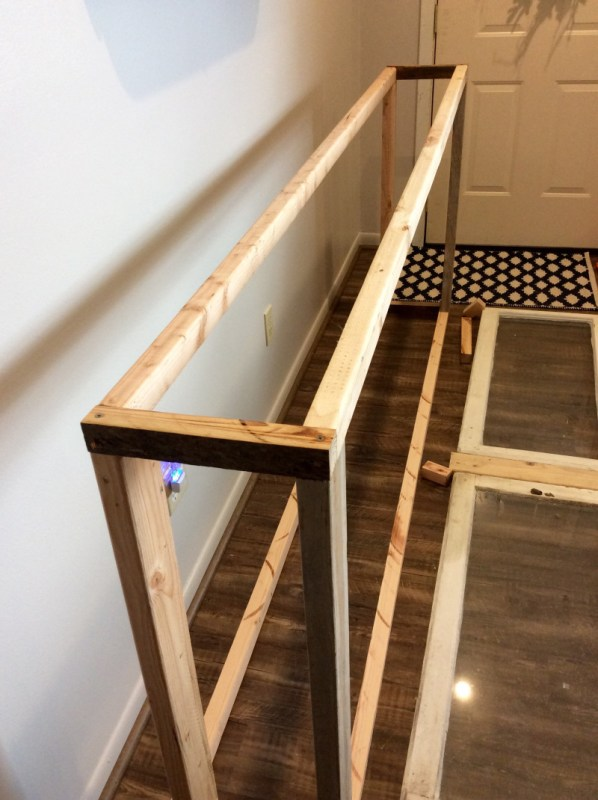 6 Frame for console table built of old windows and reclaimed wood, The Weekend Country Girl featured on @Remodelaholic