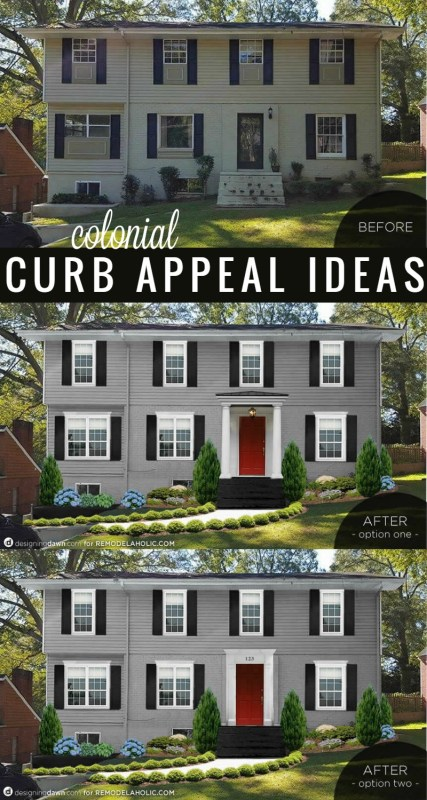 Add curb appeal to a Colonial style house. These 3 changes will make the biggest impact! @Remodelaholic