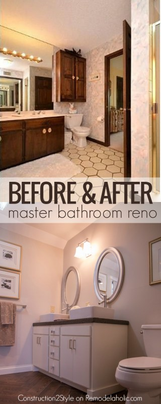 Amazing master bathroom renovation! DIY concrete coutnertops with vessel sinks, wood tile floor, and so many more beautiful updates! @Remodelaholic