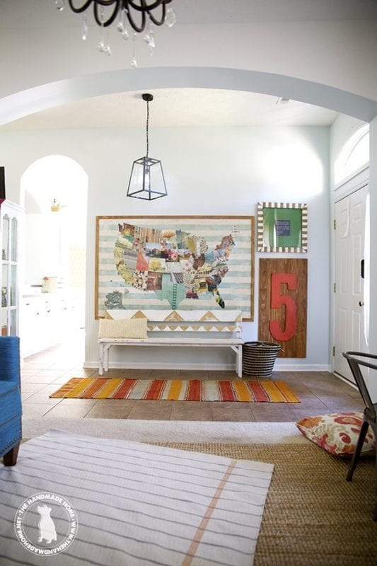 Artsy Entryway, large and colorful | 100+ Beautiful Mudrooms and Entryways at Remodelaholic.com