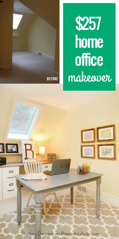 Budget home office makeover using Craigslist finds and a DIY file cabinet desk