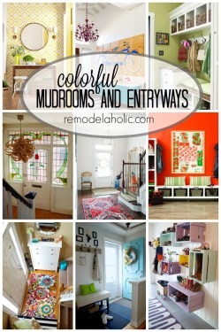 Colorful Mudrooms and entrways via remodelaholic.com