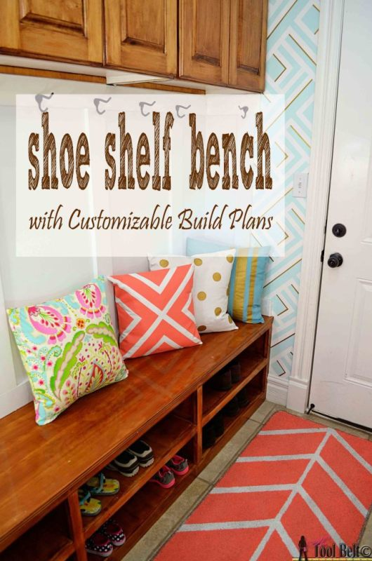 This DIY shoe shelf bench is perfect for an entryway! | 100+ Beautiful Mudrooms and Entryways at Remodelaholic.com