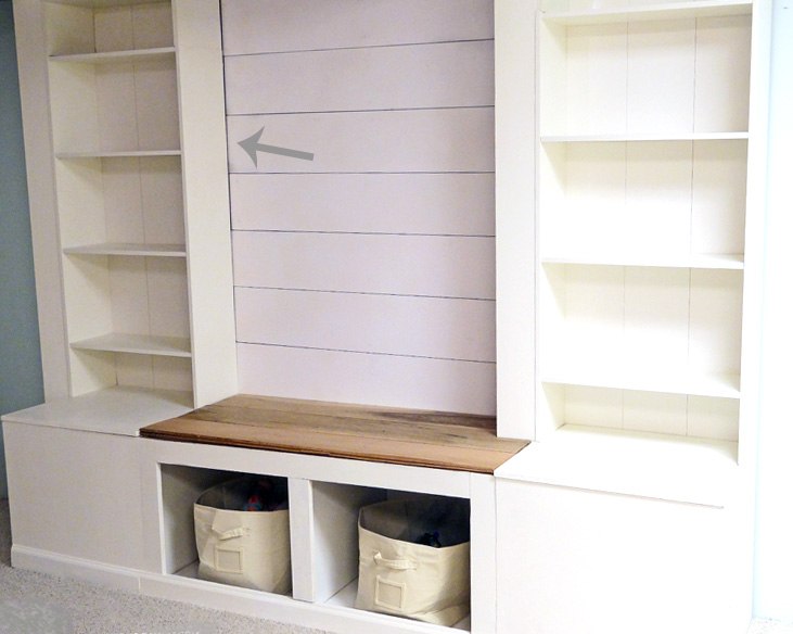 How-to-Build-a-Wall-Storage-Media-System with a shiplap backdrop featured on Remodelaholic.com