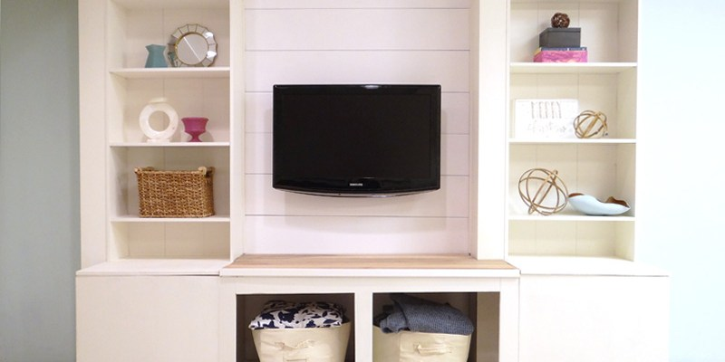DIY Built-In Media IKEA Wall Unit with Extra Storage
