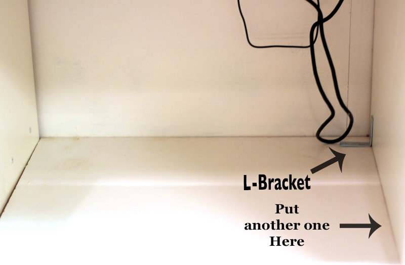 L-Brackets fro Creating a Bench Seat in a media wall featured on Remodelaholic.com