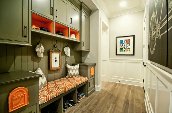 large colorful entryway | 100+ Beautiful Mudrooms and Entryways at Remodelaholic.com