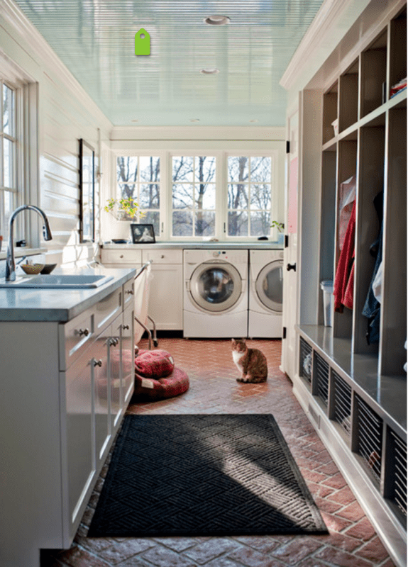 Large Mudroom Idea, combined with laundry room, storage locker section | 100+ Beautiful Mudrooms and Entryways at Remodelaholic.com