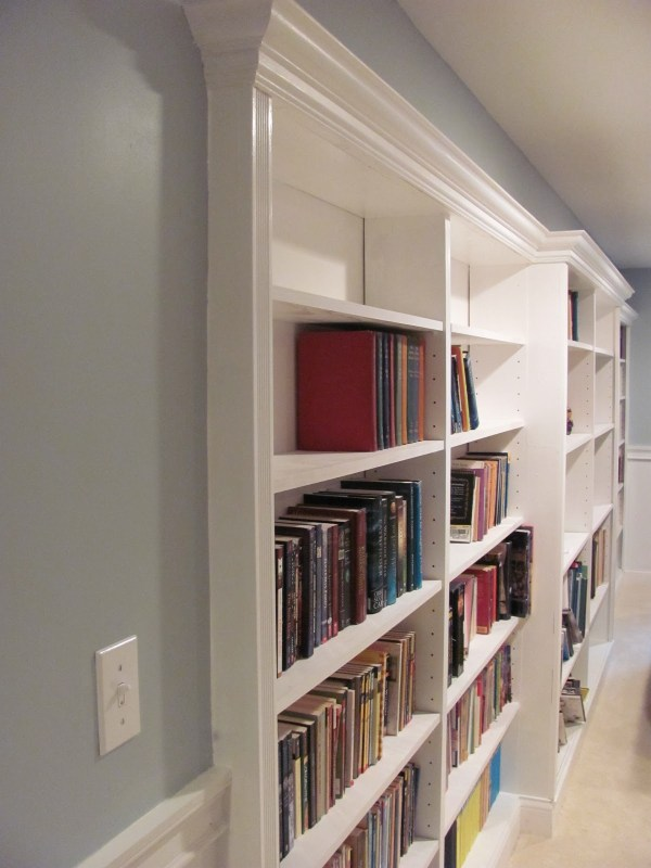 basement rec room with recessed built-in bookshelf under a soffit