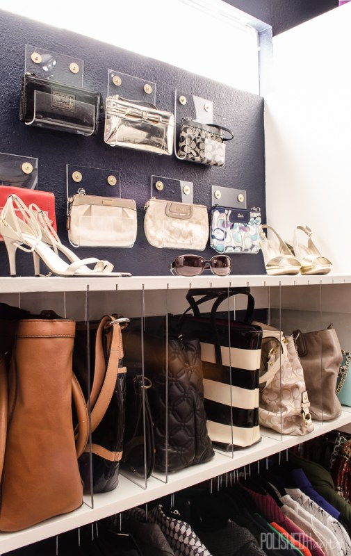 gorgeous master closet with clutch and purse organizing, DIY acrylic style PolishedHabitat