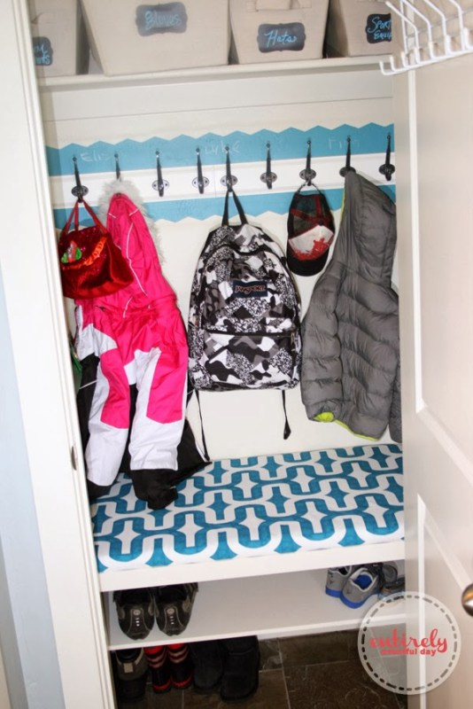 turn a closet into a mudroom | 100+ Beautiful Mudrooms and Entryways at Remodelaholic.com