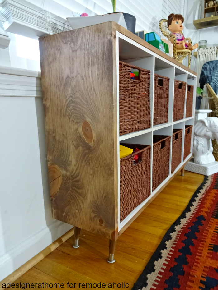 really interesting wood grain on side of made over cubby organizer