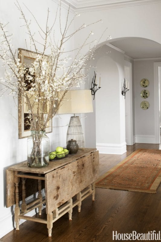 Rustic and refined entryway, LOVE the table | 100+ Beautiful Mudrooms and Entryways at Remodelaholic.com