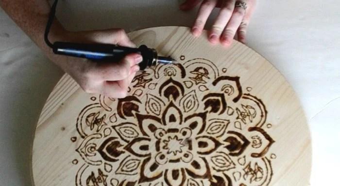 shading-with-wood-burning-tool-mandala-stenciled-design