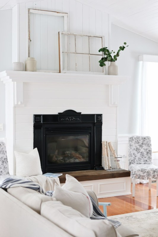 white rustic mantel with old windows Tidbits by Cami