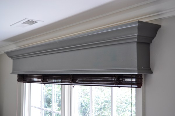 DIY wood window cornice box to cover curtain rod hardware