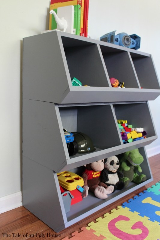 How to keep your kids toys organized, a complete tutorial for a toy cubby by Tale of an Ugly House featured on @Remodelaholic