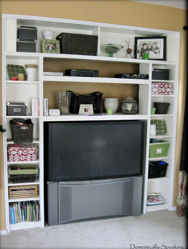 3 Ikea bookcase to built in desk, ikea hack, by Domestically Speaking featured on @Remodelaholic