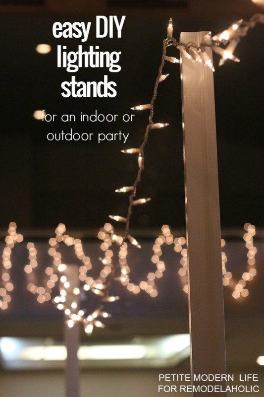 Build these easy DIY lighting stands to hold strands of string lights and add ambiance to any indoor or outdoor party @Remodelaholic