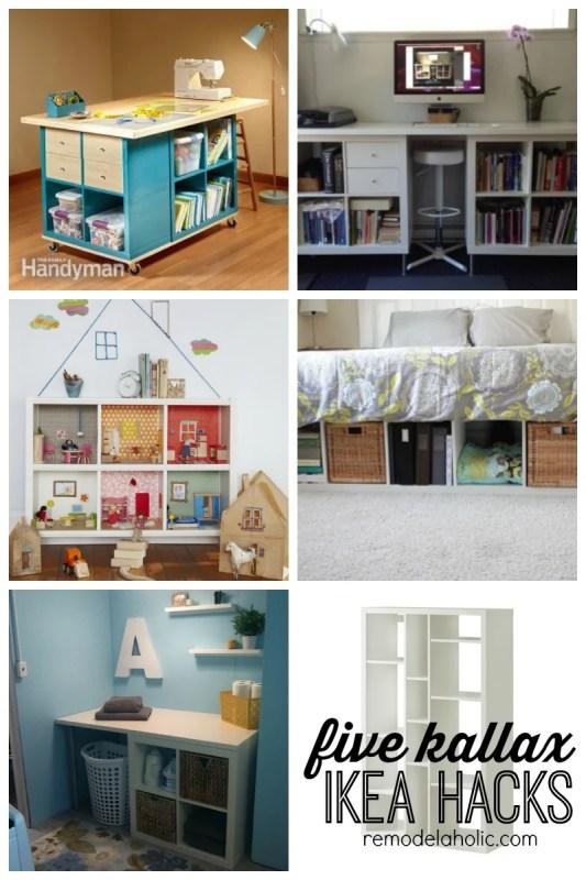 Five Kallax IKEA HACKS featured on Remodelaholic.com