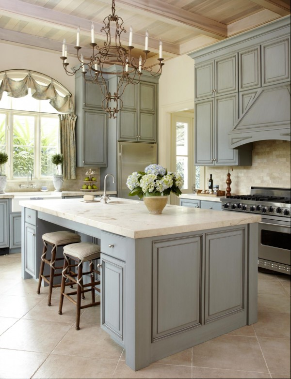 Pale Blue French Kitchen Homedit