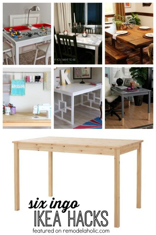 Six Ingo Dining Table IKEA Hacks featured on Remodelaholic.com