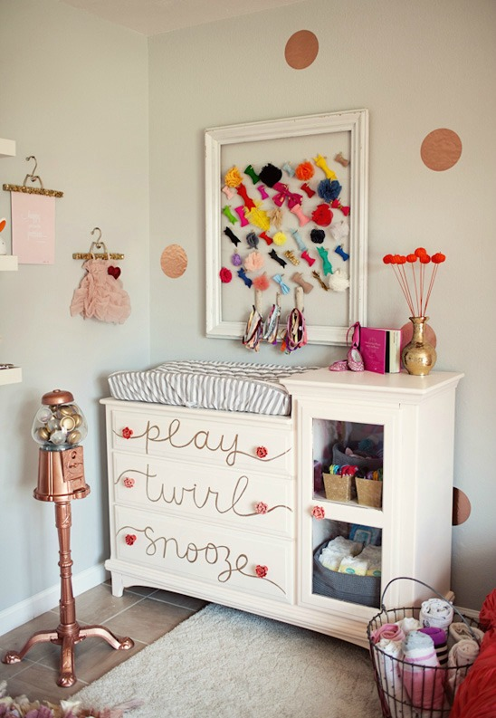handwritten words on a child's dresser drawers for a nursery via The Little Umbrella
