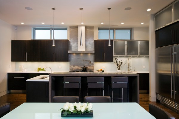 stainless-steel-tile-backsplash-Kitchen-Contemporary-with-bar-stool-frosted-glass