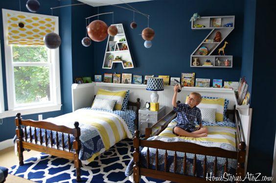 Shared boys room inspiration - amazing letter shelves!