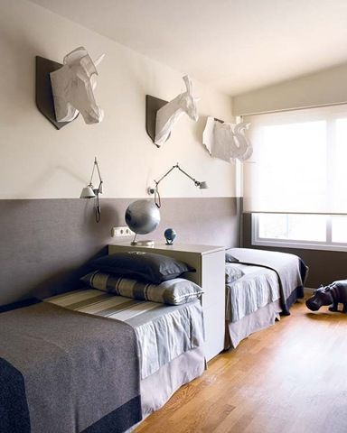 Shared boys room inspiration -- one headboard for two beds!