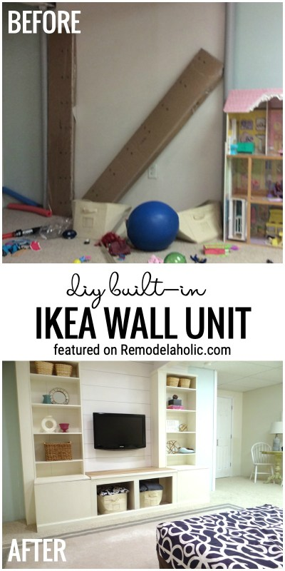 Before And After Diy Built In IKEA Wall Unit Featured On Remodelaholic.com