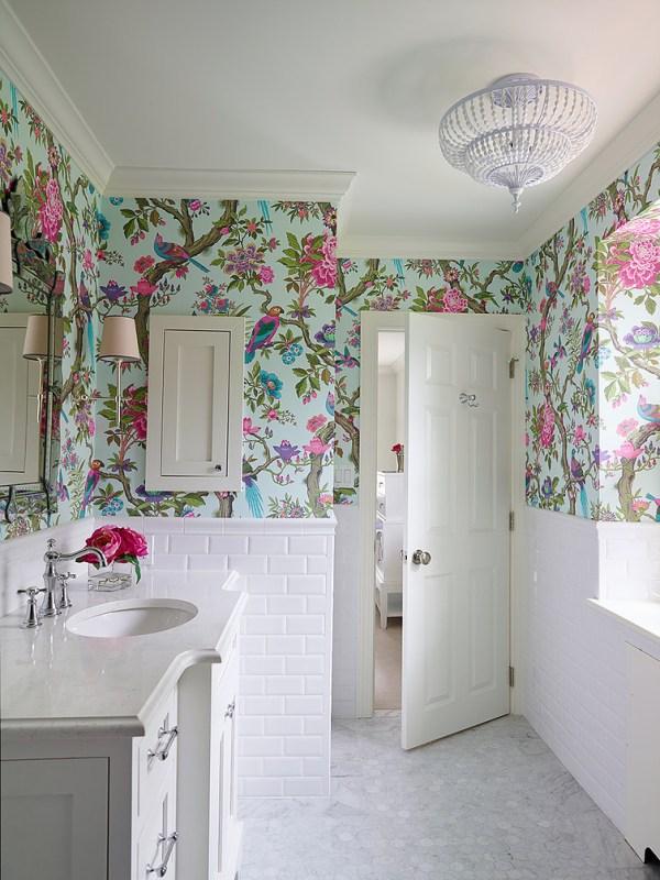 Fresh Floral Wallpaper Bathroom Shop House Design
