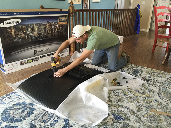 Hanging a Curved Mount TV with Sanus by @remodelaholic-6