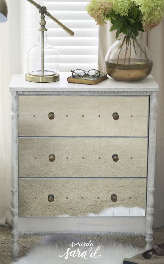 IKEA Rast makeover with mirrored drawers and turned legs, Sincerely Sara D on @Remodelaholic