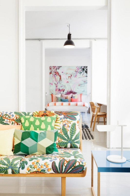 What fun colors and patterns! | Modern Tropical Style on Remodelaholic.com