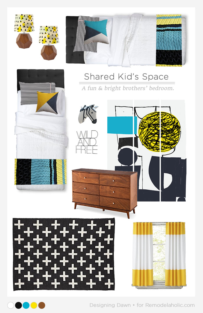 A fun and colorful shared boys room! Love that it will grow with them.