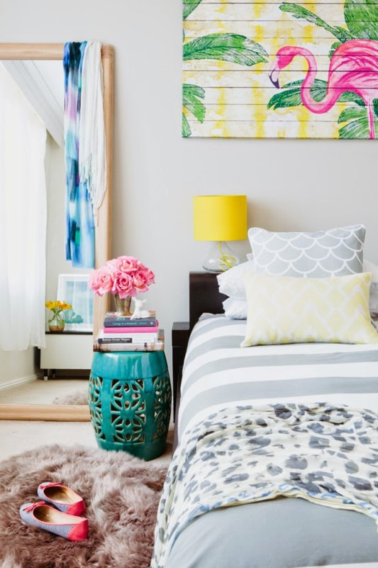Tropical Bedroom with Flamingo art | Modern Tropical Style on Remodelaholic.com