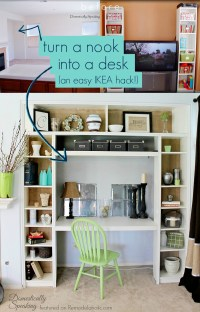 Remodelaholic | IKEA Bookcase to Built-In Desk Nook Hack