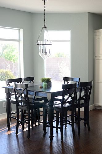 Paint colors for wood floors and trim: Rain Washed Sherwin Williams.