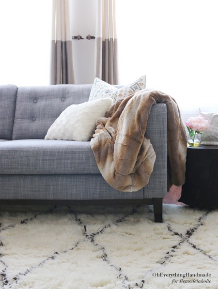 Tufted IKEA Karlstad Sofa -- so gorgeous and SO EASY! Oh Everything Handmade